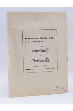 Contracubierta de CANCIONERO. PASTORA IMPERIO LA GOYA MERCEDES SERÓS: CUPLÉS. Bistagne Circa 1950