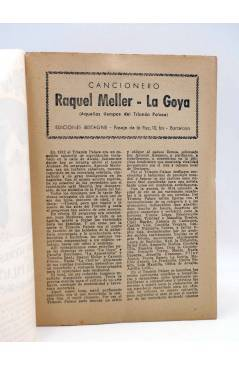 Contracubierta de CANCIONERO. RAQUEL MELLER LA GOYA: NOCHES DEL TRIANÓN PALACE. Bistagne Circa 1950