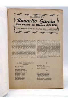 Contracubierta de CANCIONERO. ROSARITO GARCÍA. SUS ÉXITOS EN DISCOS BELTER.. Bistagne 1961