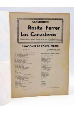 Contracubierta de CANCIONERO 27. ROSITA FERRER / LOS CANASTEROS. Bistagne 1962