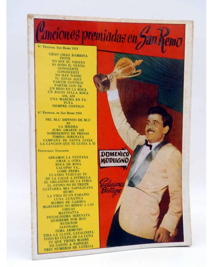 Cubierta de CANCIONERO. SAN REMO. CANCIONES PREMIADAS. DOMENICO MODUGNO. Bistagne 1959