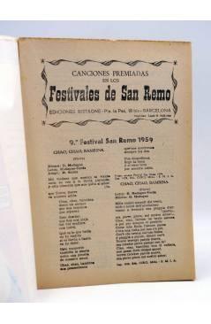 Contracubierta de CANCIONERO. SAN REMO. CANCIONES PREMIADAS. DOMENICO MODUGNO. Bistagne 1959