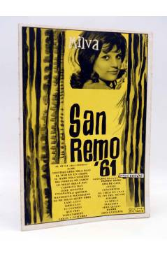 Cubierta de CANCIONERO. SAN REMO '61 1961: MILVA. Bistagne 1961