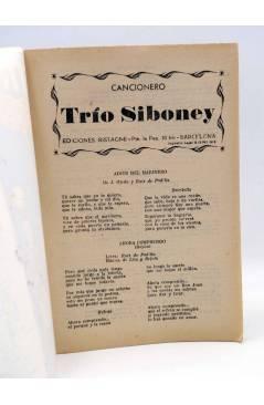 Contracubierta de CANCIONERO. TRÍO SIBONEY. Bistagne 1959