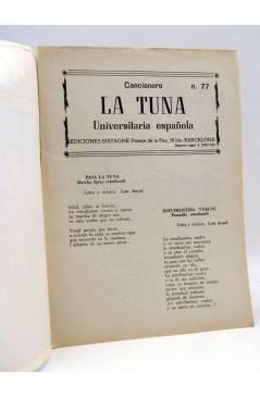 Contracubierta de CANCIONERO 77. LA TUNA UNIVERSITARIA. Bistagne 1963