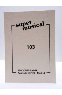 Contracubierta de CROMO SUPER MUSICAL 103. BETTY TROUPÉ (Betty Troupé) Eyder Circa 1980