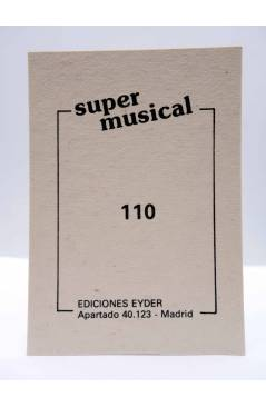 Contracubierta de CROMO SUPER MUSICAL 110. LA ORQUESTA MONDRAGÓN (La Orquesta Mondragón) Eyder Circa 1980