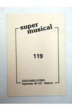 Contracubierta de CROMO SUPER MUSICAL 119. RAPHAEL (Raphael) Eyder Circa 1980