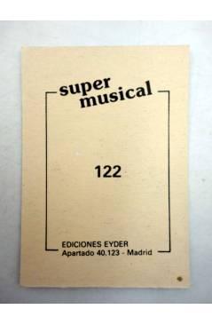 Contracubierta de CROMO SUPER MUSICAL 122. PLATINO (Platino) Eyder Circa 1980