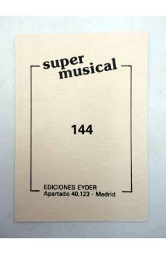 Contracubierta de CROMO SUPER MUSICAL 144. JOAN MANUEL SERRAT (Joan Manuel Serrat) Eyder Circa 1980