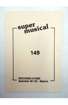 Contracubierta de CROMO SUPER MUSICAL 149. ANGELA (Angela) Eyder Circa 1980