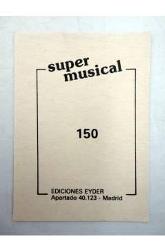 Contracubierta de CROMO SUPER MUSICAL 150. BERTÍN OSBORNE (Bertín Osborne) Eyder Circa 1980