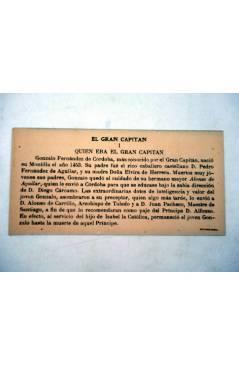 Contracubierta de CROMOS CULTURALES Nº 8. EL GRAN CAPITÁN. COMPLETA 10 CROMOS. Barsal Circa 1930