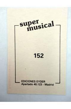 Contracubierta de CROMO SUPER MUSICAL 152. RAFAELA CARRÁ (Rafaela Carrá) Eyder Circa 1980