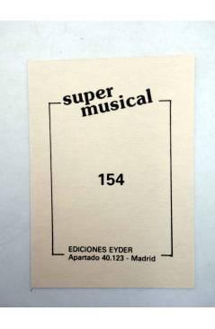Contracubierta de CROMO SUPER MUSICAL 154. YURI (Yuri) Eyder Circa 1980
