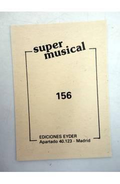 Contracubierta de CROMO SUPER MUSICAL 156. ROCÍO DURCAL (Rocío Durcal) Eyder Circa 1980