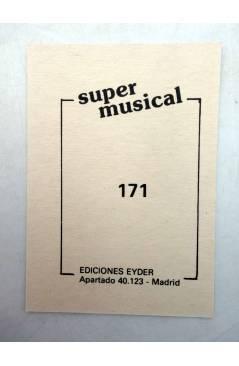 Contracubierta de CROMO SUPER MUSICAL 171. GABY MILIKI FOFITO Y RODY (Gaby Miliki Fofito Y Rody) Eyder Circa 1980