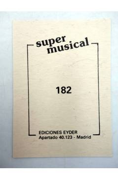 Contracubierta de CROMO SUPER MUSICAL 182. BANJO. Eyder Circa 1980