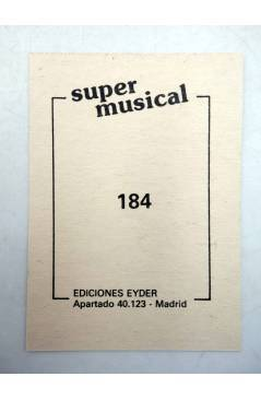 Contracubierta de CROMO SUPER MUSICAL 184. MARACAS. Eyder Circa 1980