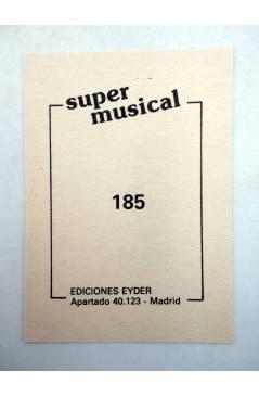 Contracubierta de CROMO SUPER MUSICAL 185. VIOLA CON ARCO. Eyder Circa 1980