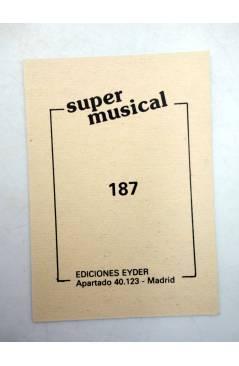 Contracubierta de CROMO SUPER MUSICAL 187. ORGANO. Eyder Circa 1980