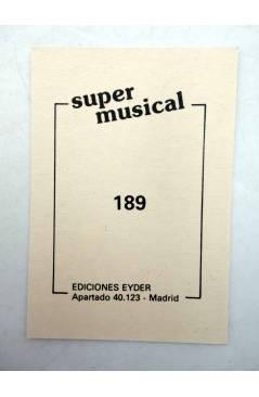 Contracubierta de CROMO SUPER MUSICAL 189. TROMPETA. Eyder Circa 1980