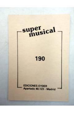 Contracubierta de CROMO SUPER MUSICAL 190. SAXO SAXOFÓN. Eyder Circa 1980