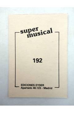 Contracubierta de CROMO SUPER MUSICAL 192. FLAUTA. Eyder Circa 1980