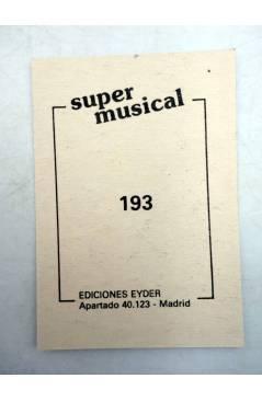 Contracubierta de CROMO SUPER MUSICAL 193. ??. Eyder Circa 1980