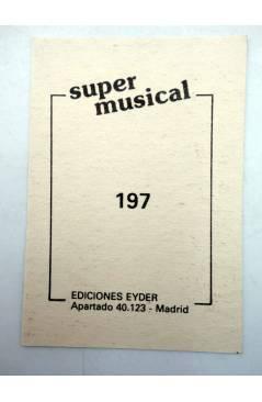 Contracubierta de CROMO SUPER MUSICAL 197. ??. Eyder Circa 1980