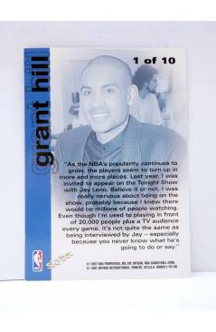 Contracubierta de TRADING CARD BASKETBALL NBA HOOPS CHILL WITH GRANT HILL 1 OF 10. Skybox 1997