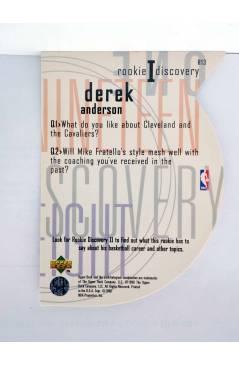 Contracubierta de TRADING CARD NBA BASKETBALL ROOKIE I DISCOVERY R13. DEREK ANDERSON. Upper Deck 1998
