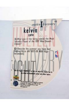 Contracubierta de TRADING CARD NBA BASKETBALL ROOKIE I DISCOVERY R15. KELVIN CATO. Upper Deck 1998