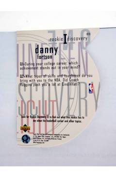 Contracubierta de TRADING CARD NBA BASKETBALL ROOKIE I DISCOVERY R10. DANNY FORTSON. Upper Deck 1998