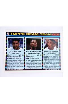 Contracubierta de TRADING CARD NBA BASKETBALL BEAM TEAM 2 of 7. PIPPEN / ROBINSON / MALONE. Topps 1993