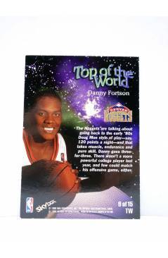Contracubierta de TRADING CARD BASKETBALL NBA HOOPS TOP OF THE WORLD TW9 OF 15. DANNY FORTSON. SkyBox 1998