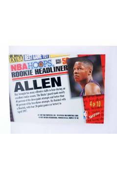 Contracubierta de TRADING CARD BASKETBALL NBA HOOPS ROOKIE HEADLINER 4 OF 10 CB. RAY ALLEN. SkyBox 1997