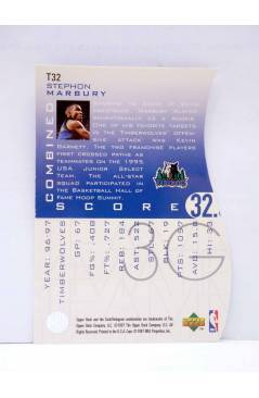 Contracubierta de TRADING CARD BASKETBALL NBA TEAM MATES T32. STEPHON MARBURY. Upper Deck 1997