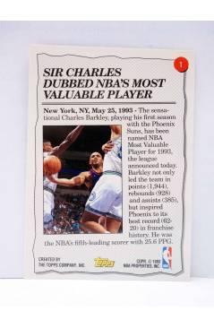 Contracubierta de TRADING CARD NBA BASKETBALL 1992-93 HIGHLIGHT 1. CHARLES BARKLEY. Upper Deck 1993