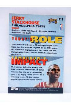 Contracubierta de TRADING CARD BASKETBALL NBA FANTASTIC 15 F11. JERRY STACKHOUSE. Topps 1997
