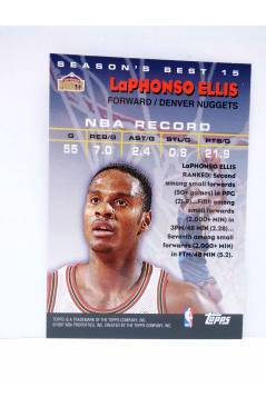 Contracubierta de TRADING CARD BASKETBALL NBA SEASON'S BEST 15. LaPHONSO ELLIS. Topps 1997