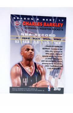Contracubierta de TRADING CARD BASKETBALL NBA SEASON'S BEST 17. CHARLES BARKLEY. Topps 1997