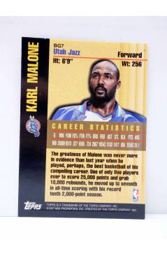 Contracubierta de TRADING CARD BASKETBALL NBA BOUND FOR GLORY BG7. KARL MALONE. Topps 1997