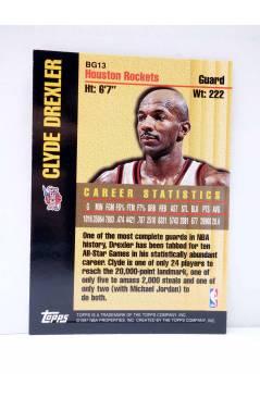 Contracubierta de TRADING CARD BASKETBALL NBA BOUND FOR GLORY BG13. CLYDE DREXLER. Topps 1997