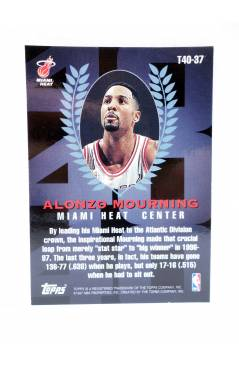 Contracubierta de TRADING CARD BASKETBALL NBA TOP 40 T40-37. ALONZO MOURNING. Topps 1997