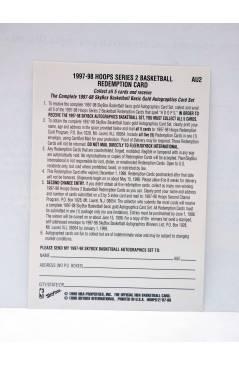 Contracubierta de TRADING CARD BASKETBALL NBA HOOPS SERIES 2 REDEMPTION CARD CHECKLIST AU2. SkyBox 1998