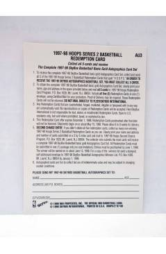 Contracubierta de TRADING CARD BASKETBALL NBA HOOPS SERIES 2 REDEMPTION CARD CHECKLIST AU3. SkyBox 1998