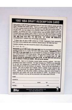 Contracubierta de TRADING CARD BASKETBALL NBA DRAFT REDEMPTION. DRAFT PICK 10. Topps 1997
