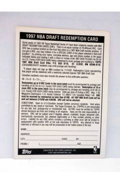 Contracubierta de TRADING CARD BASKETBALL NBA DRAFT REDEMPTION. DRAFT PICK 19. Topps 1997