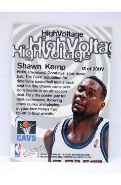 Contracubierta de TRADING CARD BASKETBALL NBA HOOPS HIGH VOLTAGE HV18. SHAWN KEMP. SkyBox 1998